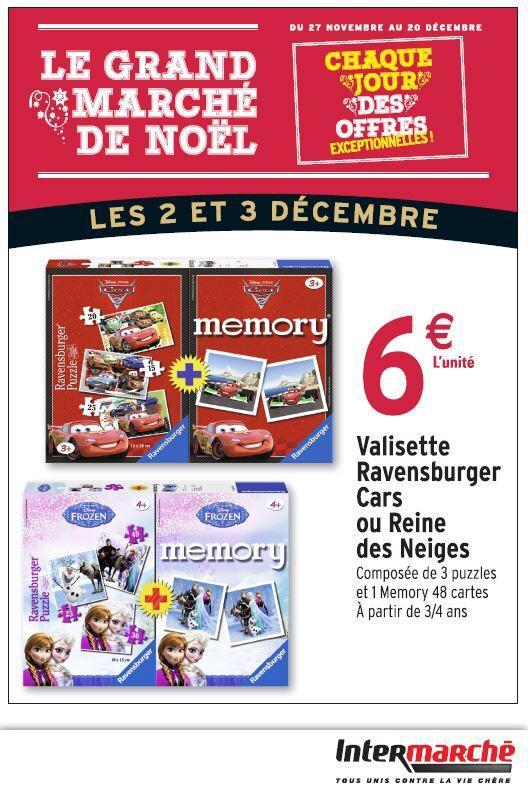 Valisette Ravensburger Cars ou Reine des Neiges (3 puzzles, et 1 memory)