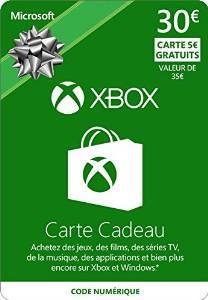 Carte Xbox Live 30€ + bonus de 5€