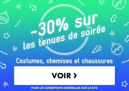 30% de réduction  sur les Tenues de Soirée (Costumes, Chemises et Chaussures)