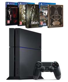 Sélection de packs PS4 500 Go châssis C - Ex : Pack PS4 500Go + Assassin's Creed : Syndicate + Fallout 4 + Metal Gear Solid V : The Phantom Pain + 2 Steelbooks