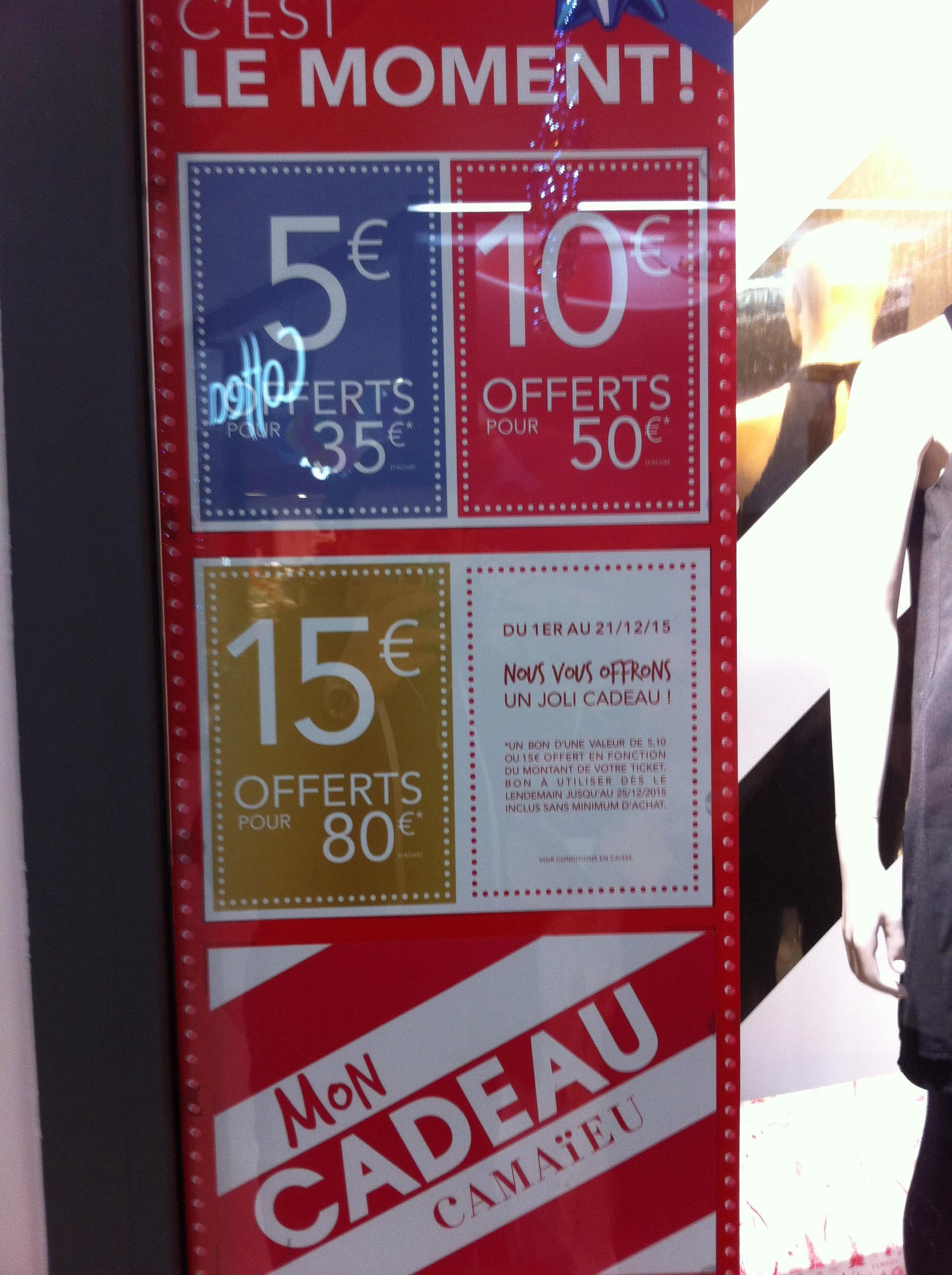 5€ de réduction dès 35€ d'achat, 10€ dès 50€ et 15€ dès 80€