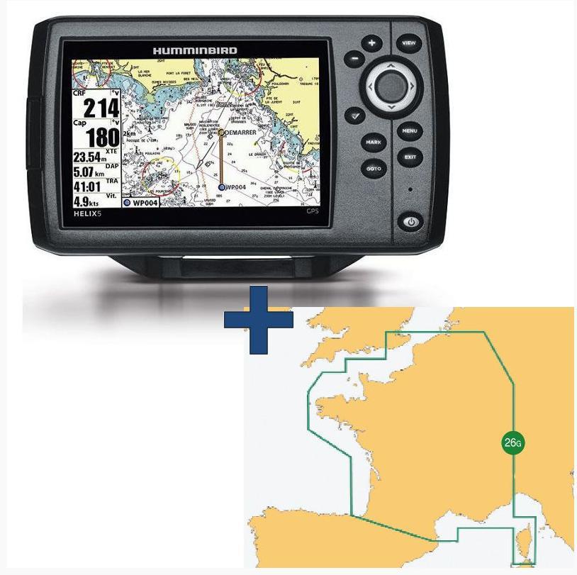 Pack GPS marine Humminbird Hélix 5 + Carte navionics France