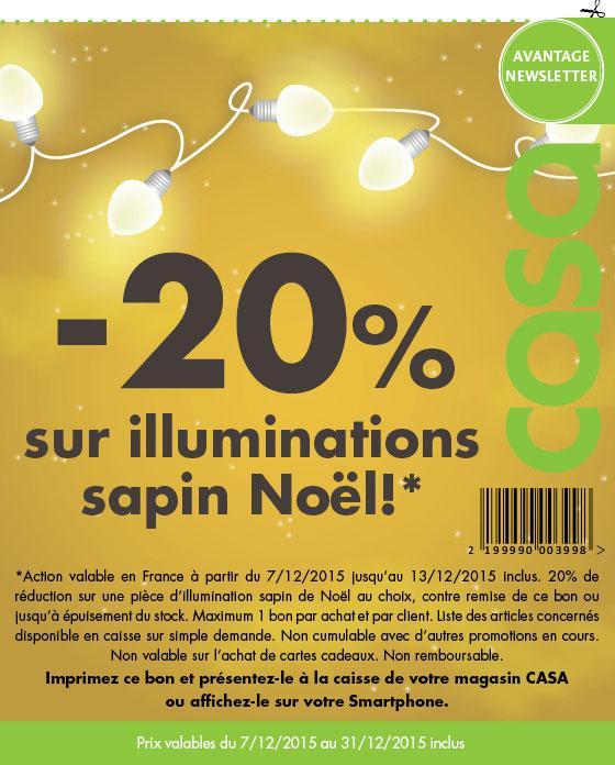 20% de réduction sur les illuminations Sapin