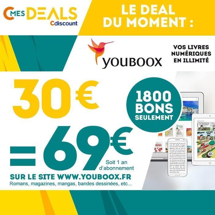 69€ à dépenser chez Youboox (eBooks illimités)