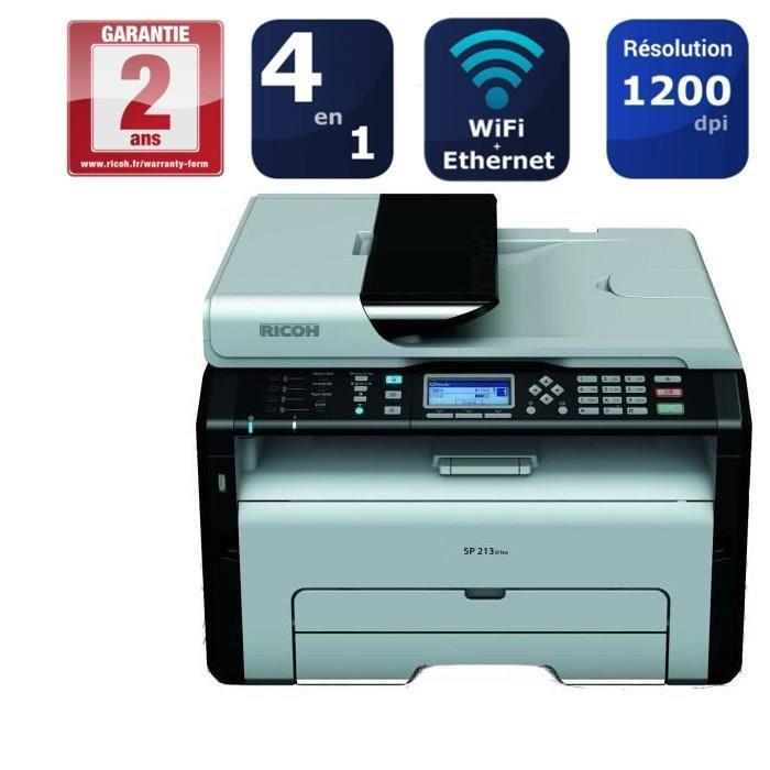 Imprimante Laser multifonction Ricoh SP 213SFNw - Noir/Blanc, Recto/Verso, Wifi