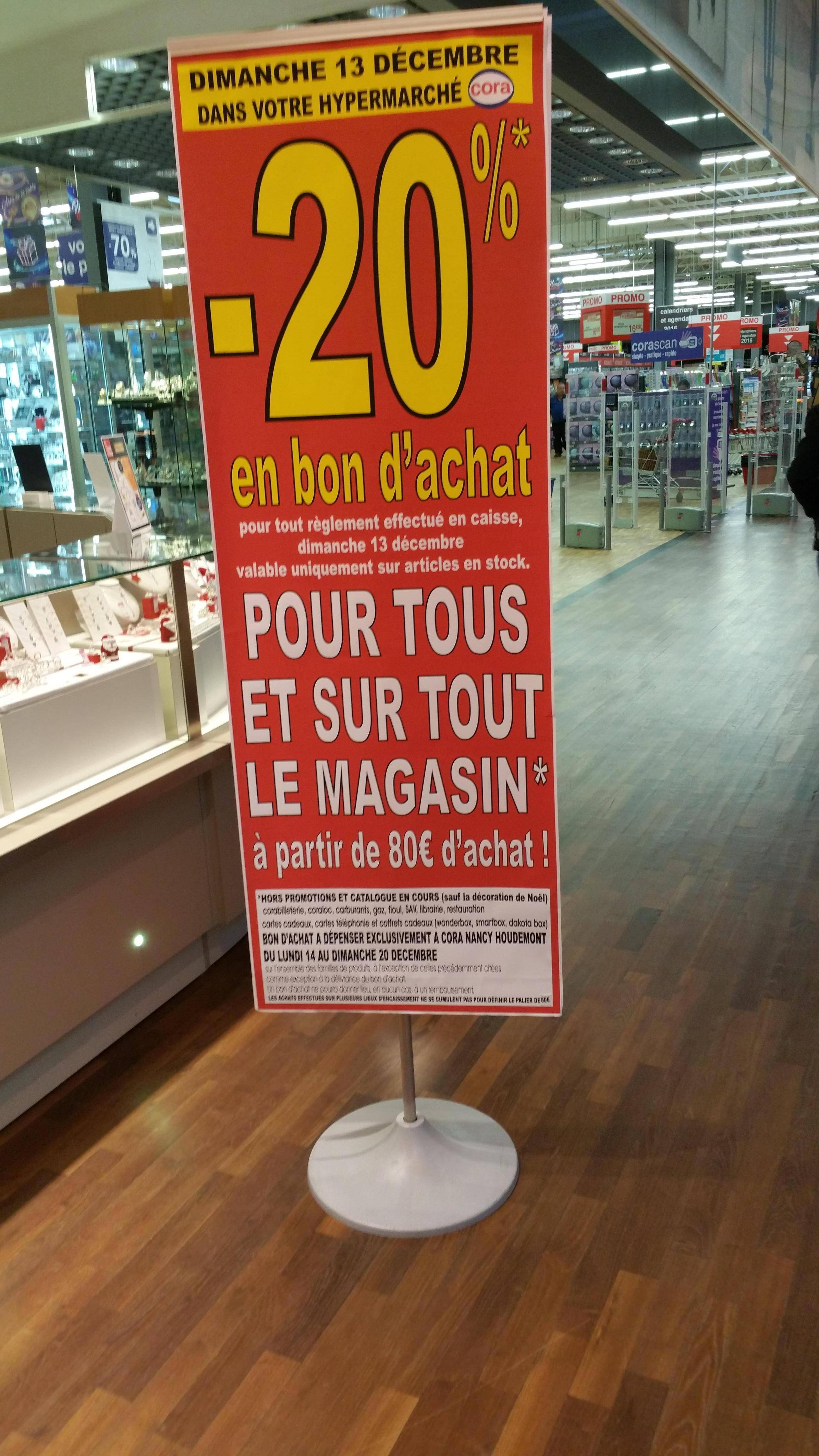 20% en bon d'achat sur tout le magasin dès 80€ d'achat