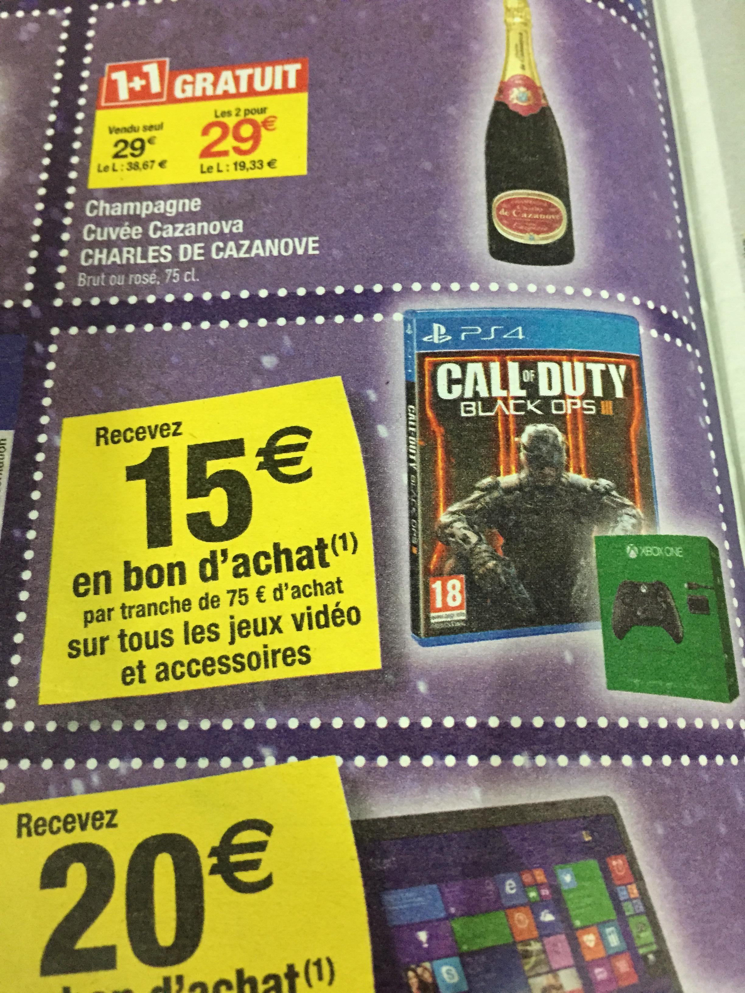15€ offerts en bons d'achats dès 75€ d'achats sur le rayon Jeux Vidéos et Accessoires