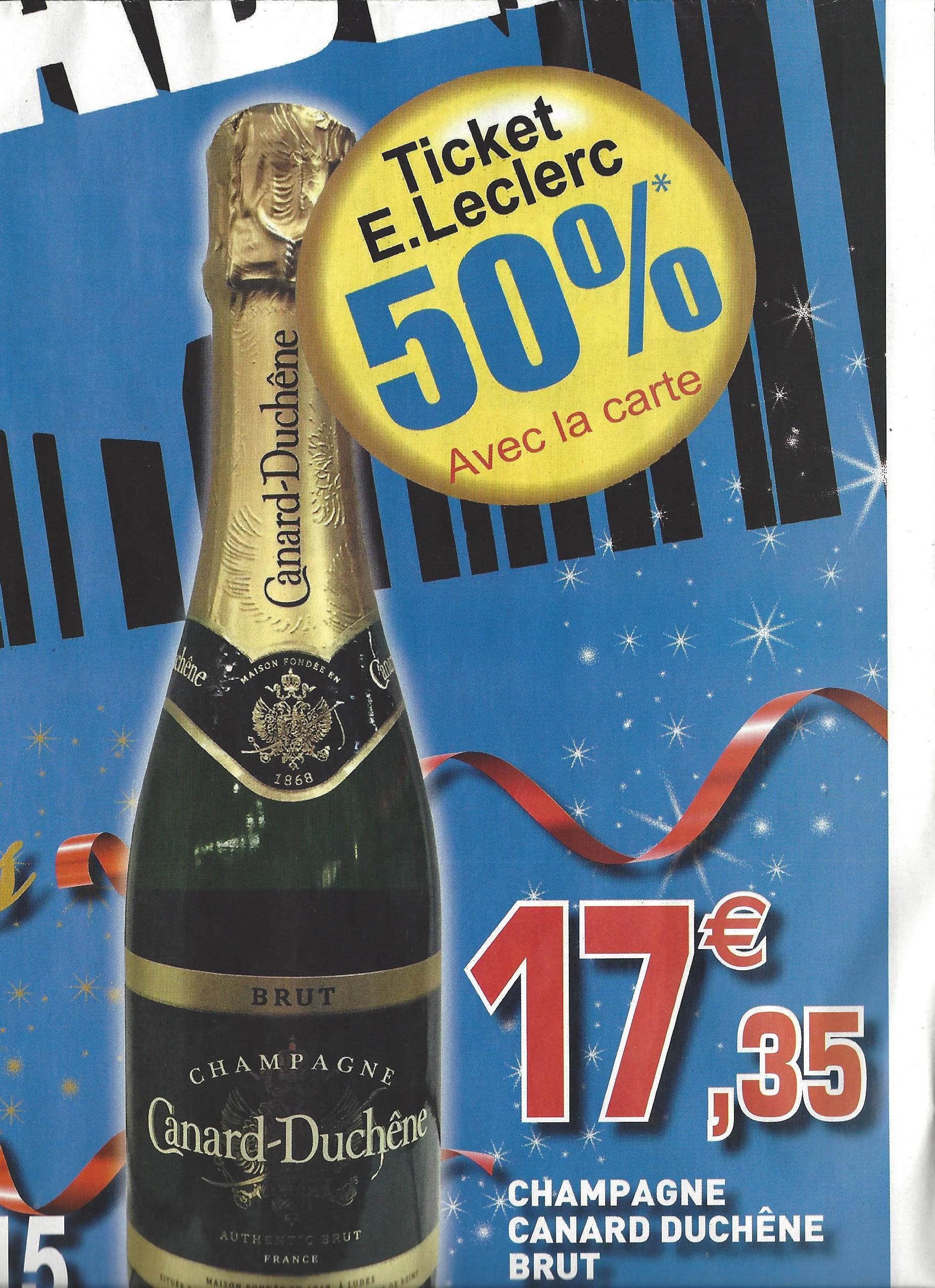 Bouteille de Champagne Canard Duchene (avec 8.68€ sur la carte)