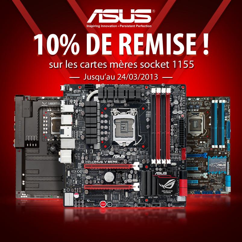 -10% sur une sélection de carte mère Asus socket 1155