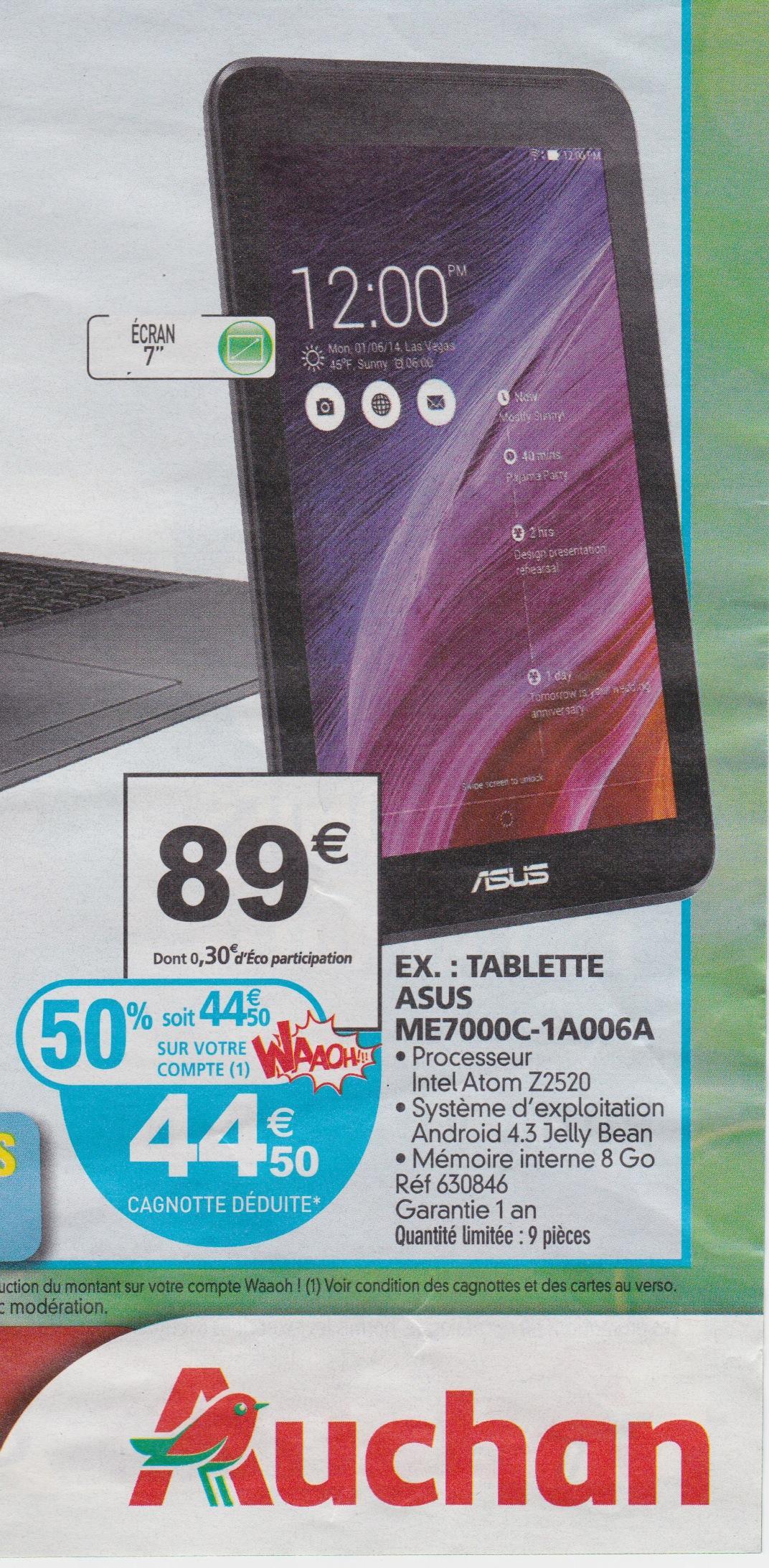 """Tablette 7"""" Asus ME7000C-1A006A (avec 44,50€ sur la carte)"""