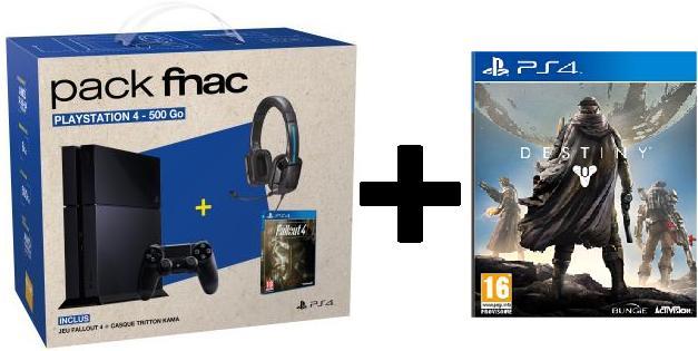 Console Sony PS4 500 Go + Jeux Fallout 4 + Casque Tritton Kama + destiny