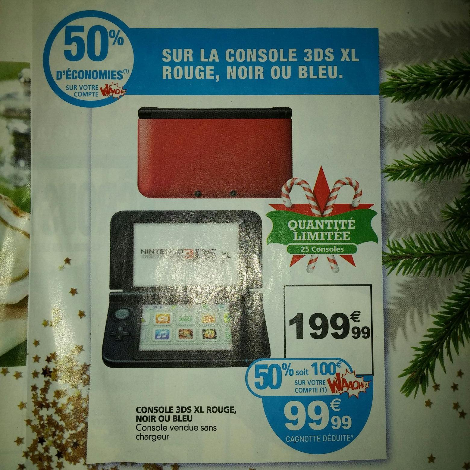 Console Nintendo 3DS XL - Rouge, Noire ou Bleue (via 99.99€ carte Waaoh)