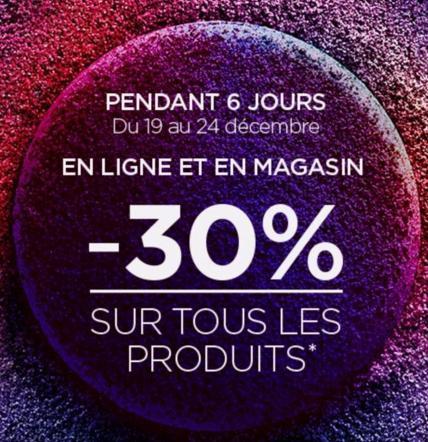 30% de réduction sur tous les produits en ligne ou en magasin