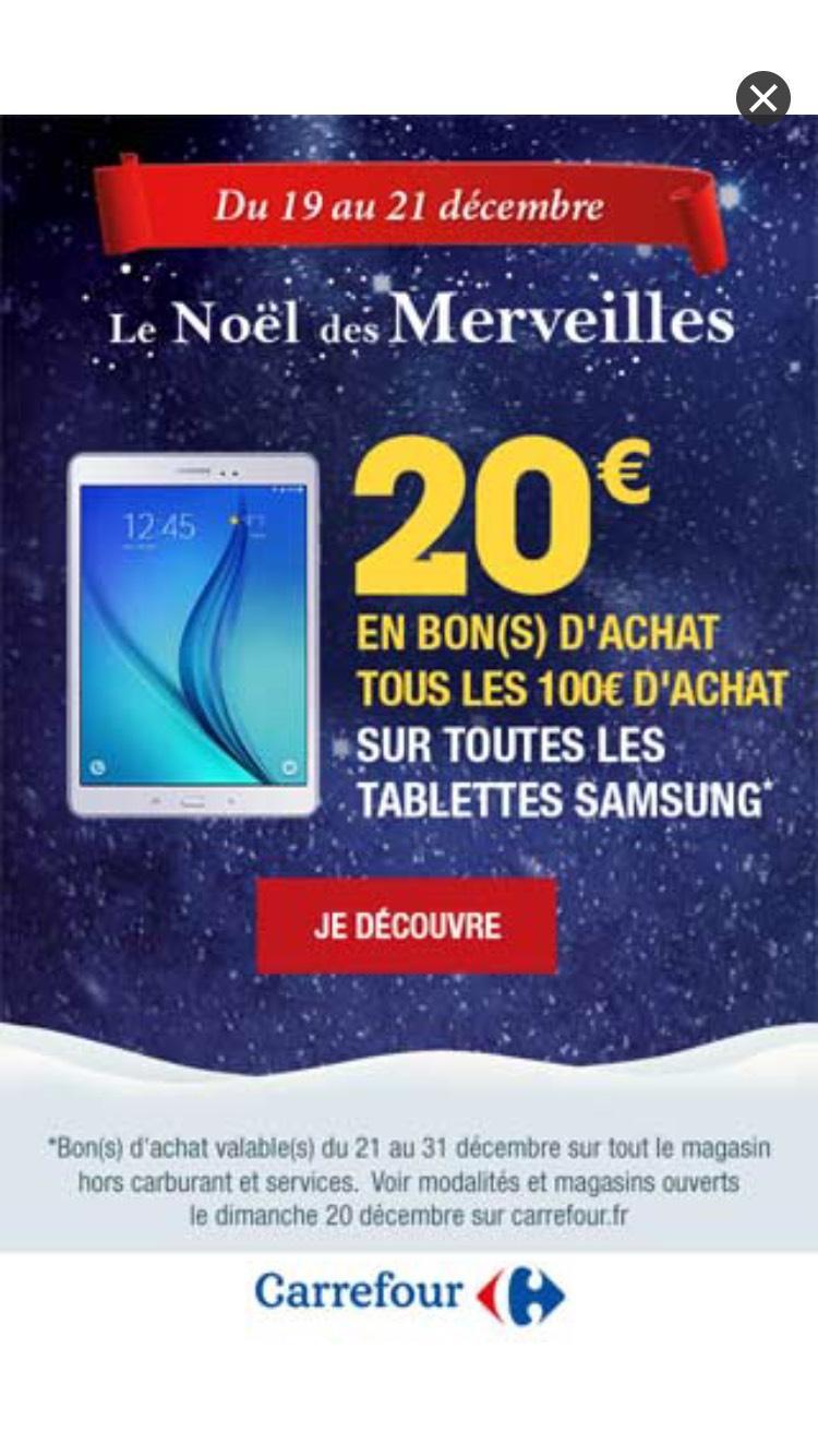 20€ offerts en bons d'achat tous les 100€ sur toutes les tablettes Samsung