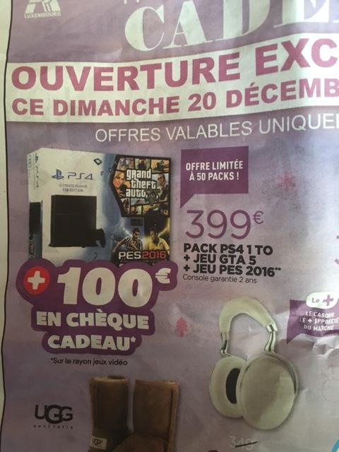 Console Sony PS4 1 To + GTA 5 + PES 2016 + 100 € en chèque cadeau (sur le rayon Jeux vidéo)