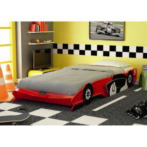 Lit voiture pour enfant 90x190-200cm rouge, gris ou bleu