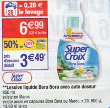 Lessive liquide Supercroix 850 mL avec autodoseur (avec 50% sur la carte + 3€ BDR)