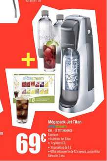 Sodastream Jet Titan + 3 bouteilles 1 L + 12 échantillons