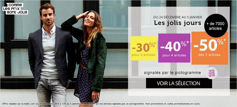 30% de réduction pour l'achat de 3 articles parmi une sélection, 40% dès 4 articles et 50% dès 5 articles
