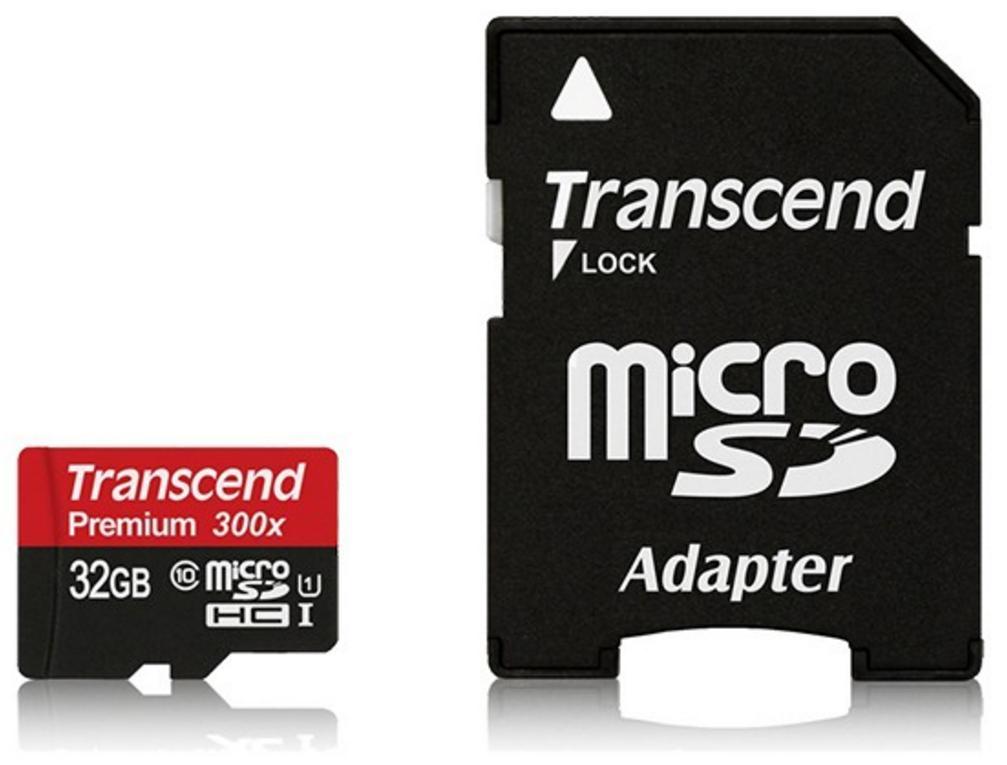 Carte microSDHC Transcend Premium 300x - 32 Go avec adaptateur
