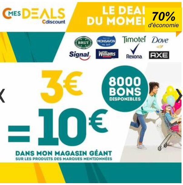 Bon d'achat de 10€ valable chez Géant sur les marques Signal, Dove, Rexona, Timotei, Williams, Brut, Monsavon, Axe