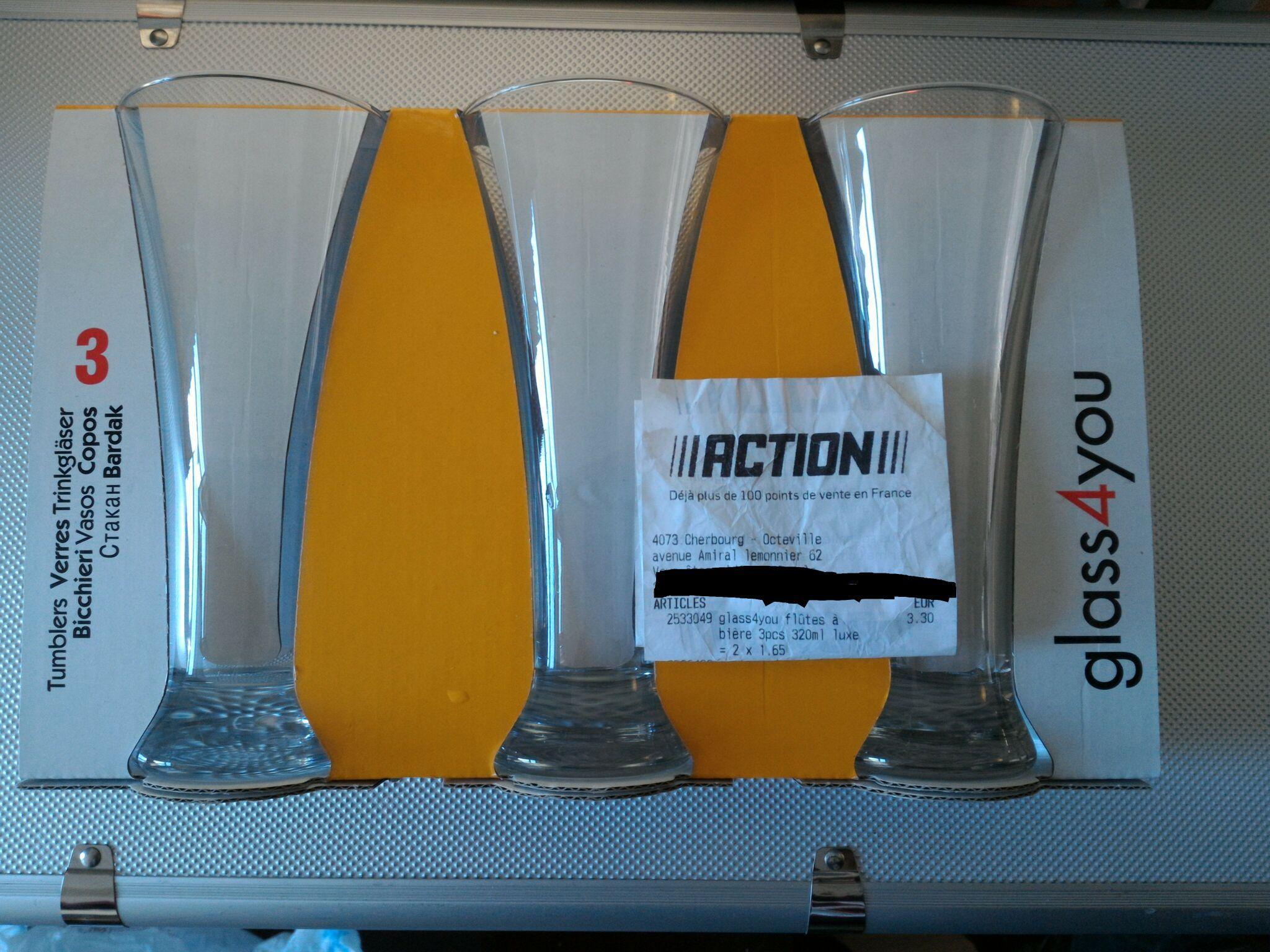Set de 3 verres à bière type flute