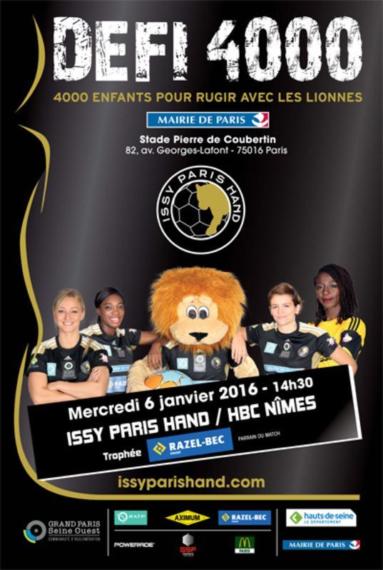 Billet gratuit pour le match de Handball Féminin Issy Paris - Nîmes, le 6 janvier au stade Pierre de Coubertin (Paris)