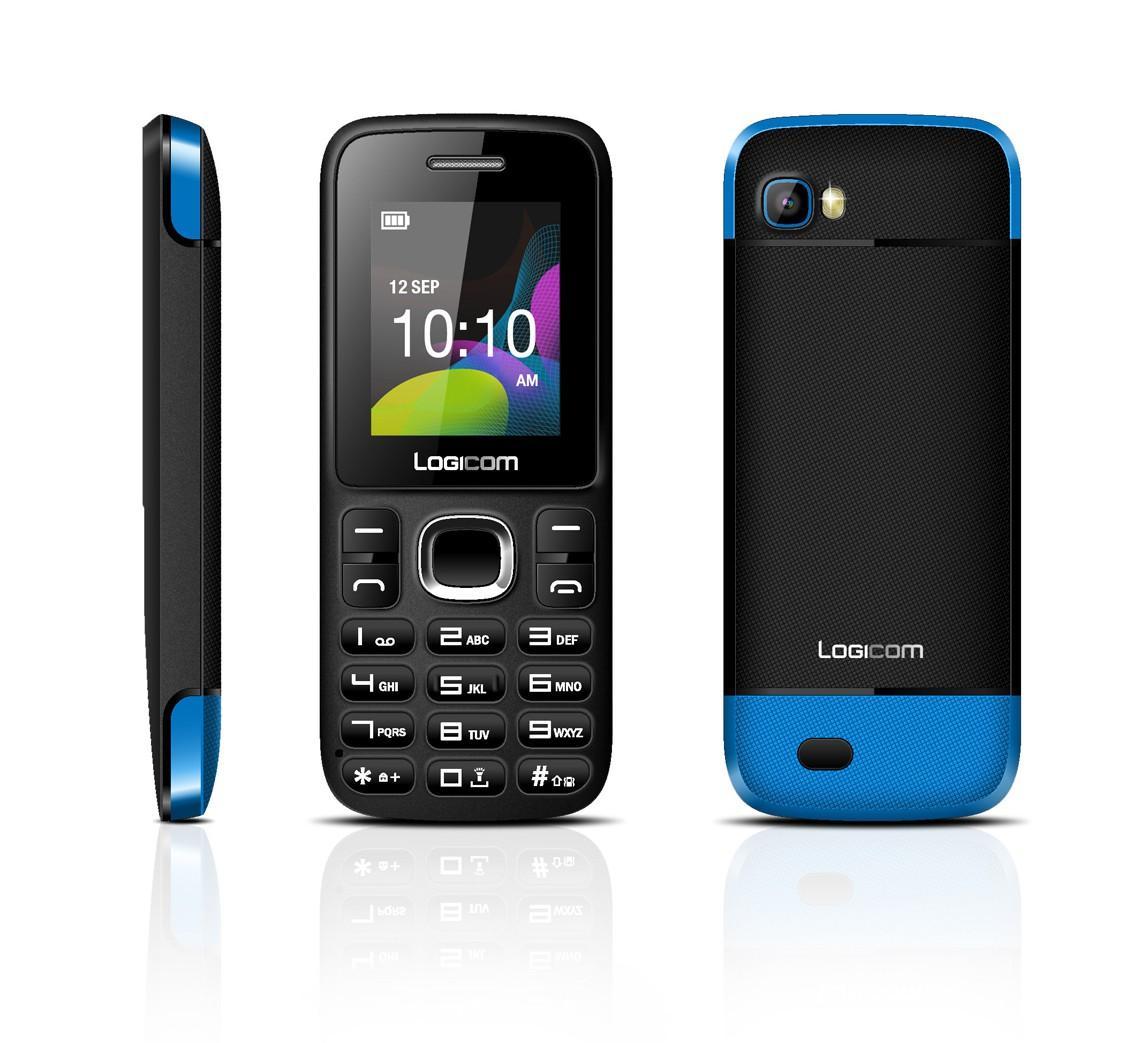 Téléphone mobile Logicom L190 - Noir/Bleu, double sim, bluetooth, caméra vga