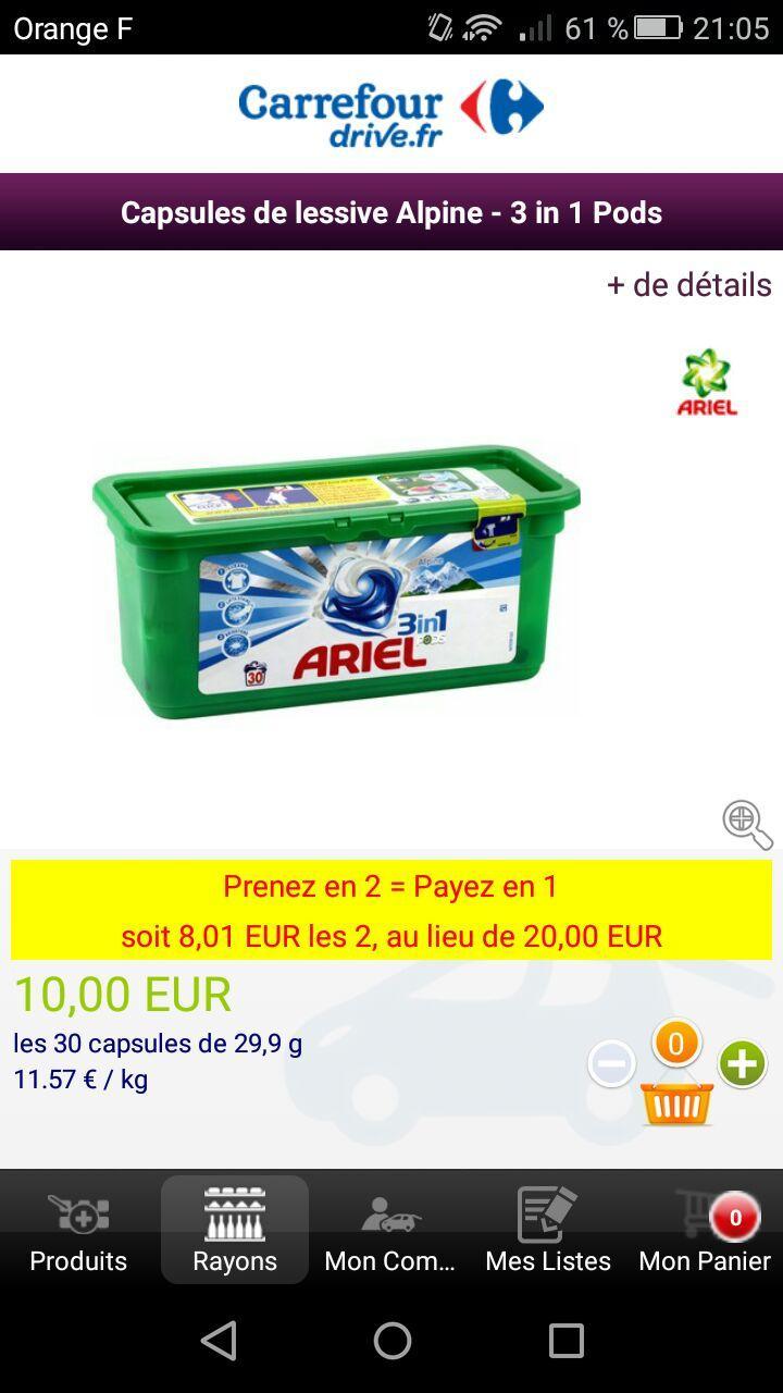 Lot de 2 Boîtes de 30 doses de Lessive Ariel alpine- 3en1