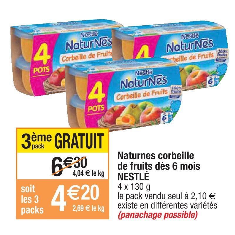 3 paquets de Nestlé NaturNes - Corbeille de Fruits (ODR de 3€ via Quoty)