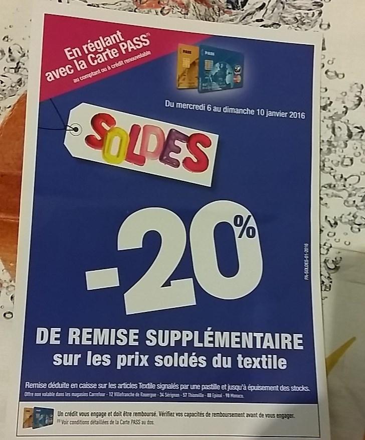 [Carte Pass] 20% de réduction supplémentaire sur les prix soldés du Textile