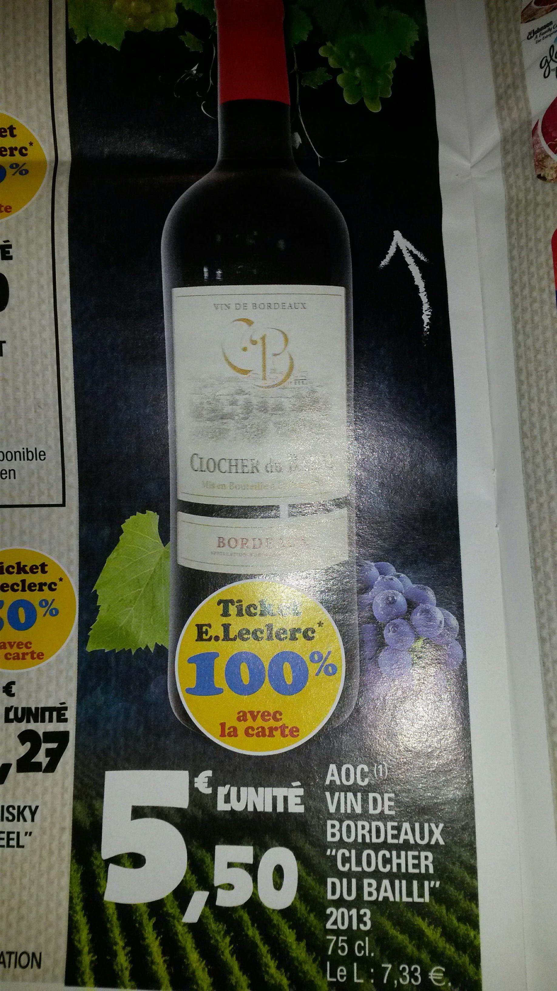 Sélection de produits 100% remboursés en tickets Leclerc - Ex : Vin de Bordeaux Clocher du Bailli 2013