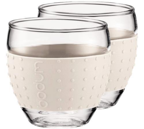 Sélection d'articles Bodum en promotion - Ex : 2 Verres Bodum Pavina bande silicone blanc crème - 35cl