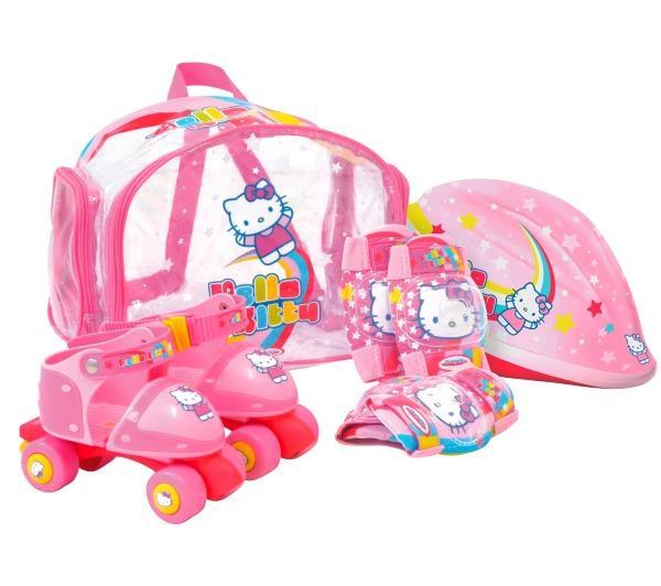 Patins à roulettes Hello Kitty avec protections et sac de transport (ajustables du 24 au 29)