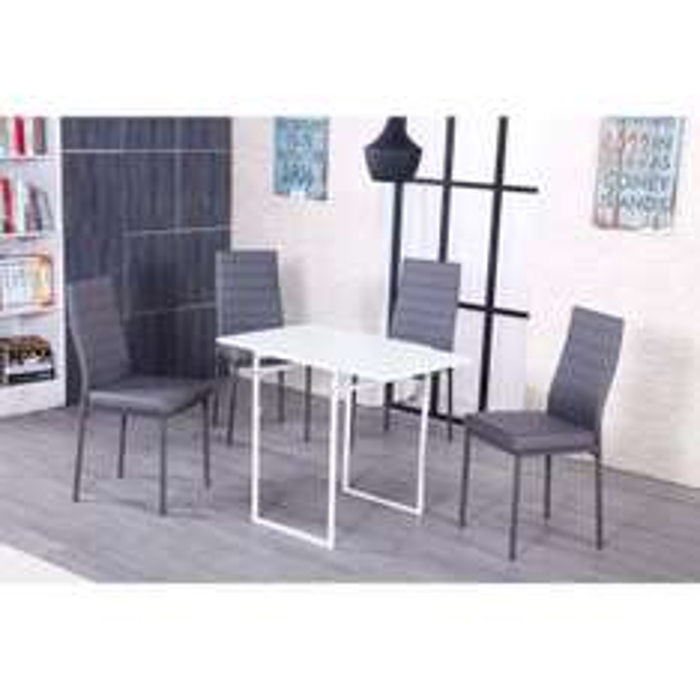 Table à manger extensible Papaya 60x46-92cm blanc mat