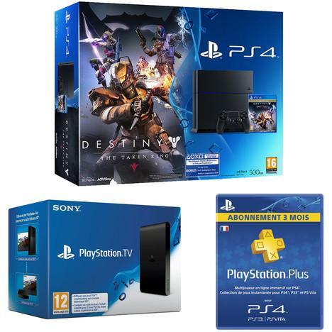 Pack Console Sony PS4 500 Go + Destiny + Playstation TV + Abonnement PS+ 3 Mois