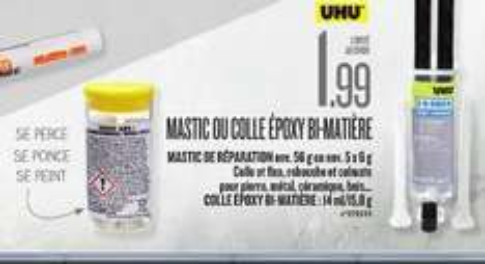 Colle ou mastic epoxy bi-matière Uhu