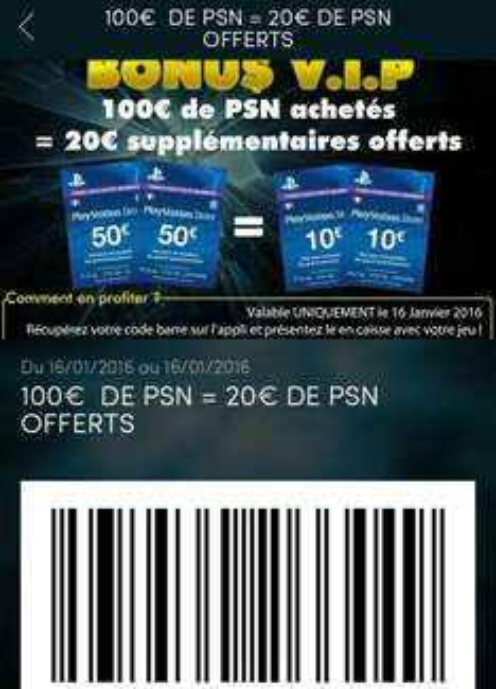 120€ de Cartes PlayStation Store (via l'appli Hypergame)