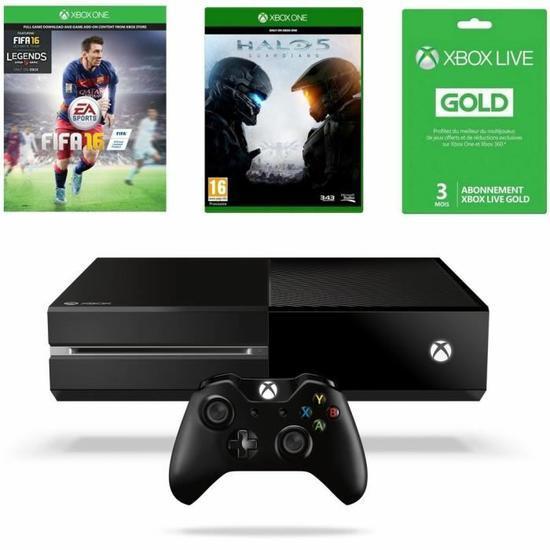 Console Xbox One 500Go + FIFA 16 + Halo 5 + Abonnement Xbox Live Gold 3 mois