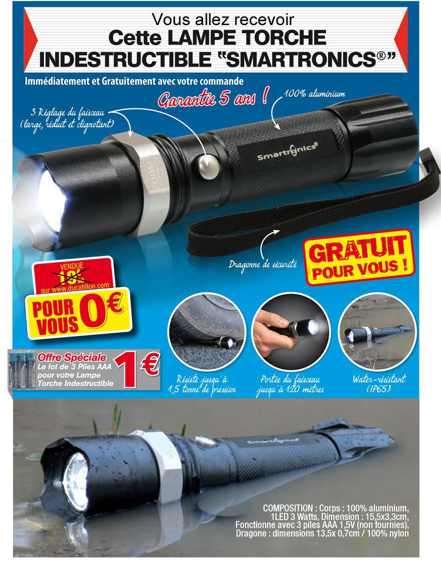 Lampe torche Smartonics gratuite pour toute commande (Frais de port 5.90)