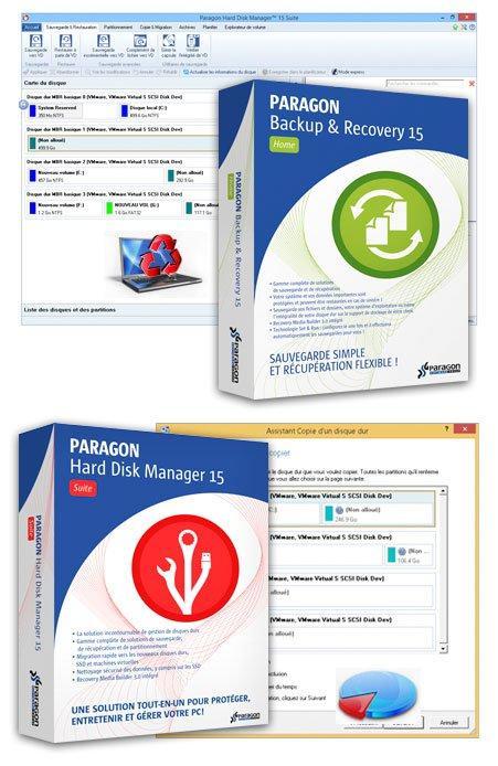 2 logiciels offerts : Paragon Manager hard disk et Backup recovery 2015