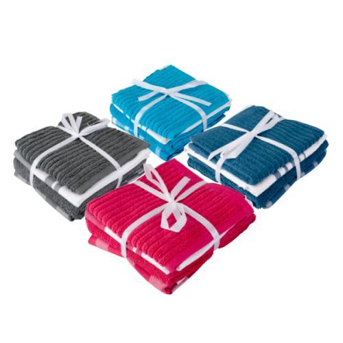 Set de 2 Torchons, 1 Essuie-main et 1 Lavette - Plusieurs coloris