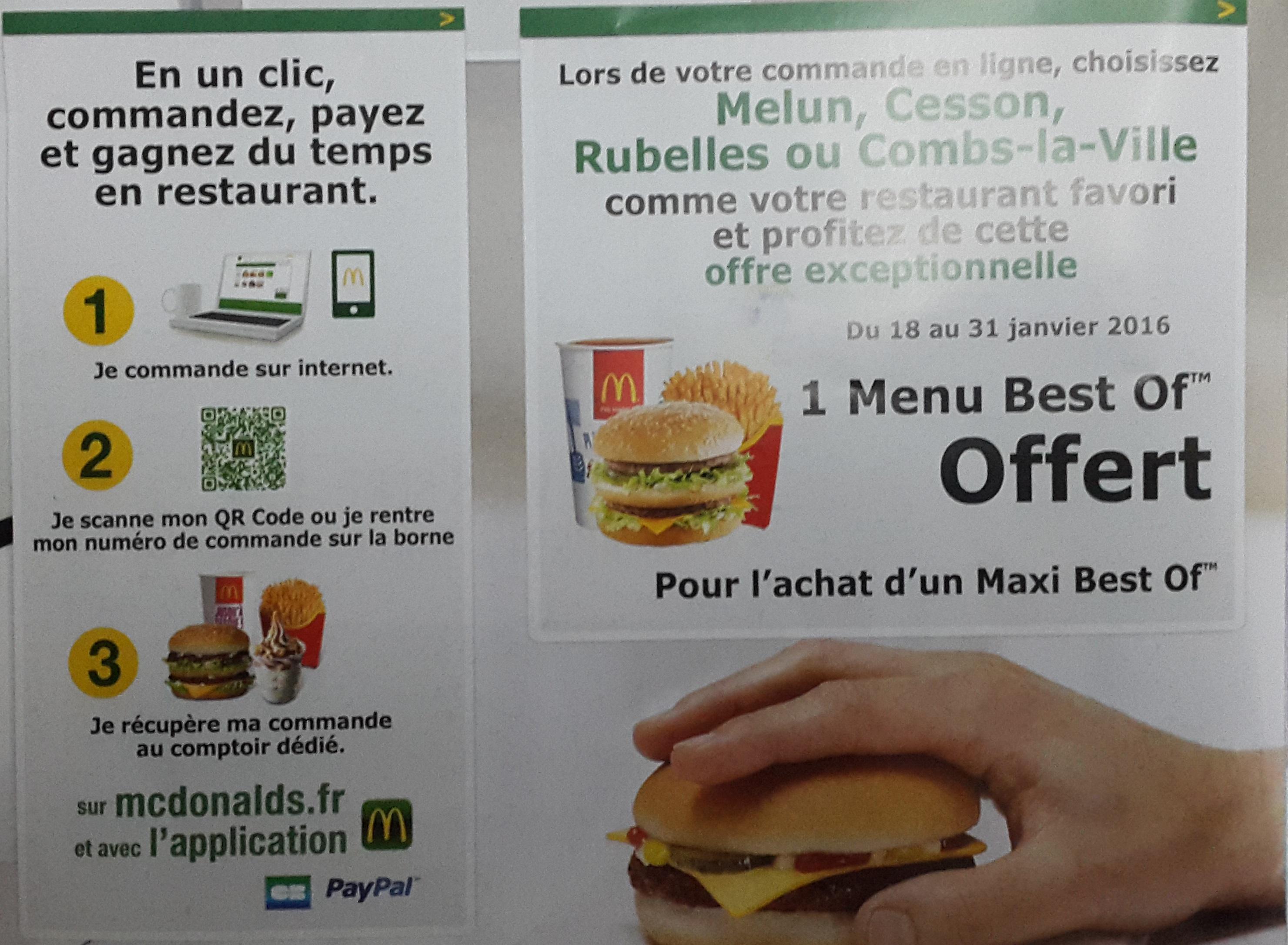 1 Menu Best Of offert pour l'achat d'un menu Maxi Best Of