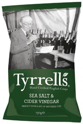 Lot de 12 paquets Sel de Mer/Vinaigre de Cidre Tyrrell's Chips Sel (150 g)