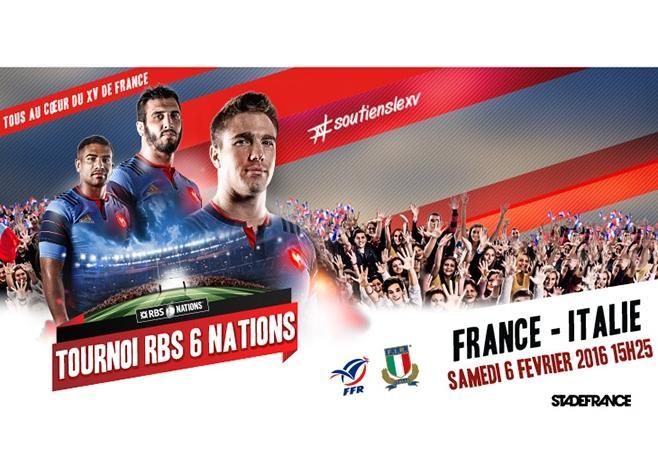 Match Rugby France / Italie pour le Tournoi des VI nations le 6 Février 2016