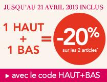 5€ pour 25€ d'achat ou 10€ pour 40€ ou - 20% sur sélection de look (haut+bas)