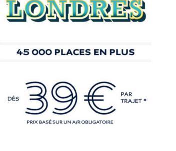 Aller-simple Eurostar au départ de Paris, Lille ou Calais à destination de Londres St Pancras International (voyages du 22 Février au 30 Avril)