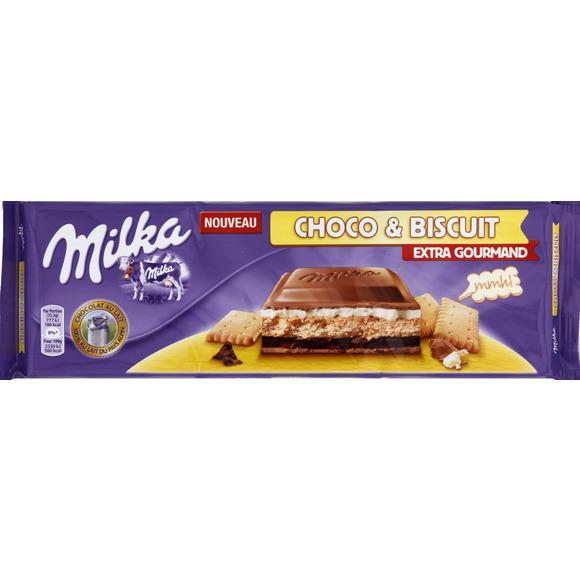 2 Tablettes de chocolat Milka Choco & Biscuit