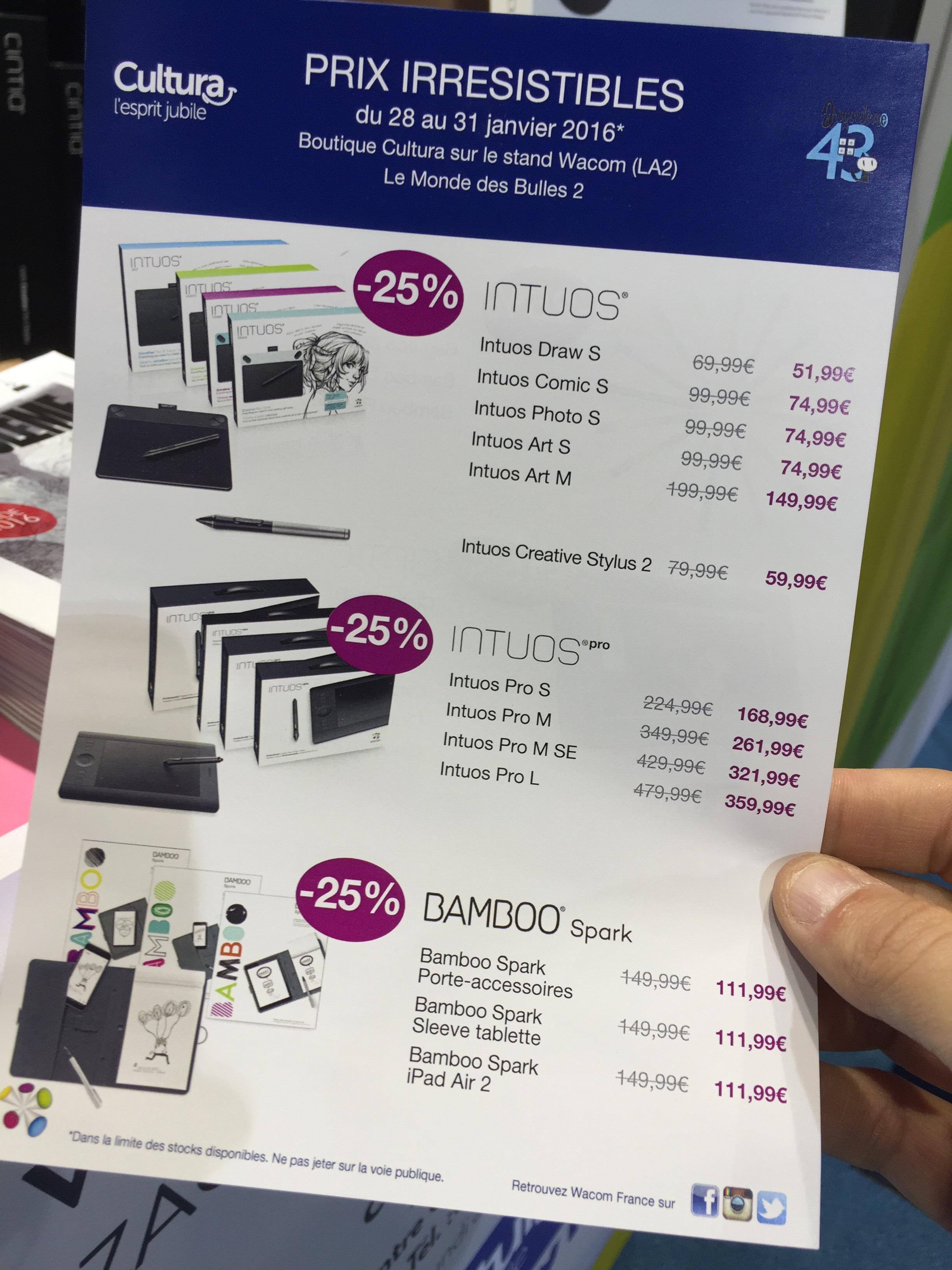 25% de réduction sur les tablettes graphiques Wacom Intuos et Intuos Pro - Ex : Wacom Intuos Draw S