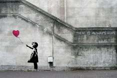"Papier peint photo Banksy la fille du ballon ""There is always hope"" 210 x 140 cm + une autre affiche en cadeau"